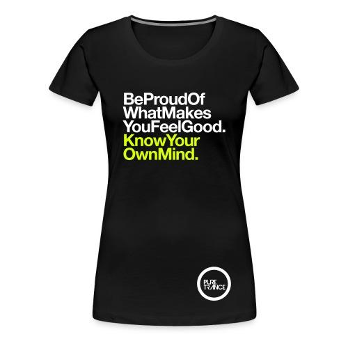 Be Proud... [Female] White / Neon Yellow - Women's Premium T-Shirt