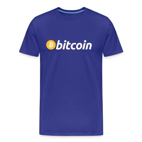 T-Shirt Bitcoin Logo mit Schrift - Männer Premium T-Shirt