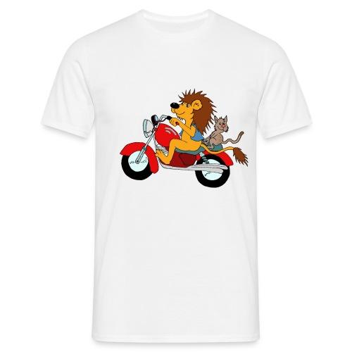 Löwe auf Motorrad - Männer T-Shirt