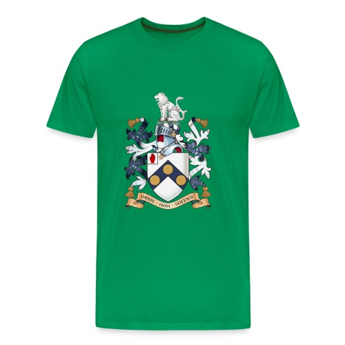 """James Bonds coat-of-arms and family motto """"The world is not enough"""" - Men's Premium T-Shirt"""