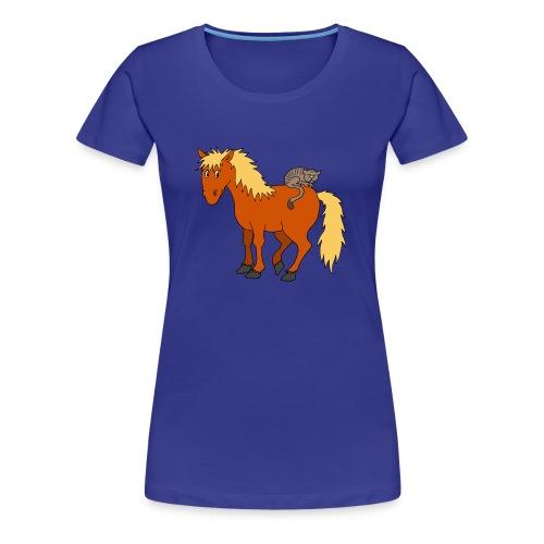 Katze auf Pony - Frauen Premium T-Shirt