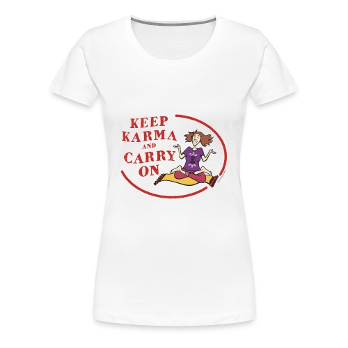 Keep Karma and Carry On (White) - Women's Premium T-Shirt