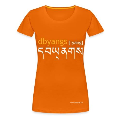 dbyangs Damen T-Shirt orange/weiß - Frauen Premium T-Shirt