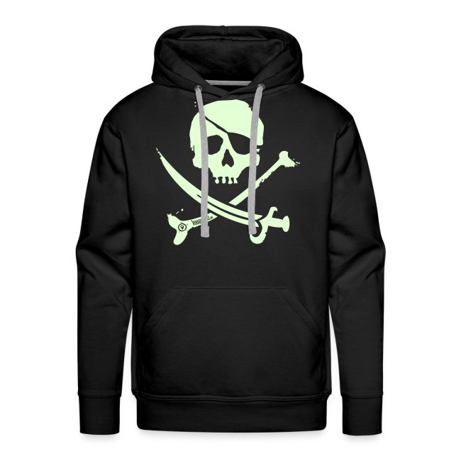 Pirate Crew - Men's Hoodie (White print, glows green in the dark)