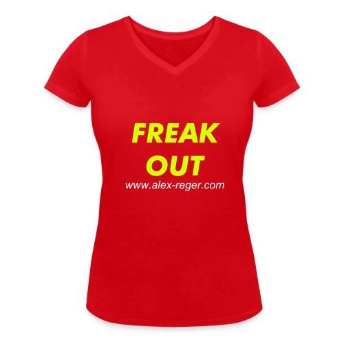 Lady Shirt Freak Out rot - Frauen T-Shirt mit V-Ausschnitt