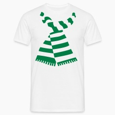 Scarf Print White Mens-T-Shirt With Stripes