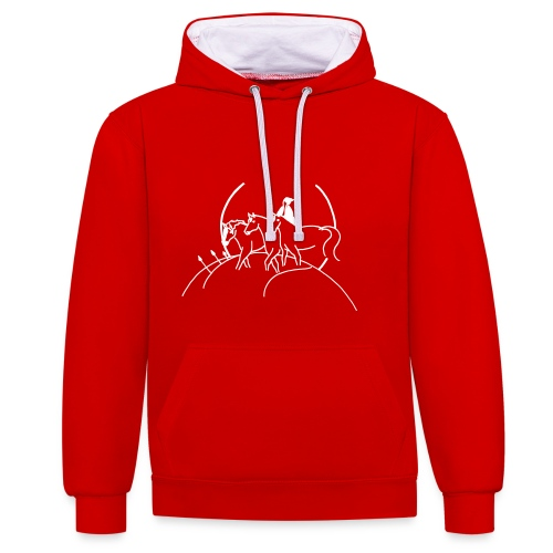 Cover, Women Hoody ( Print Digital White) - Kontrast-Hoodie