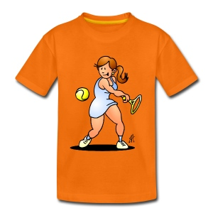 Tennis girl hitting a backhand Shirts - Kinderen Premium T-shirt