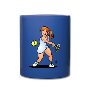 Tennis girl hitting a backhand Mugs & Drinkware - Mok uni