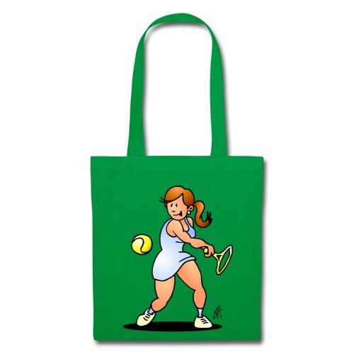 Tennis girl hitting a backhand Bags & Backpacks - Tote Bag