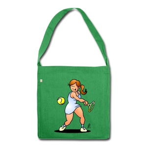 Tennis girl hitting a backhand Bags & Backpacks - Schoudertas van gerecycled materiaal