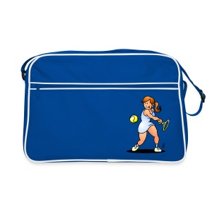 Tennis girl hitting a backhand Bags & Backpacks - Retro-tas