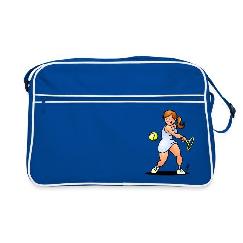 Tennis girl hitting a backhand Bags & Backpacks - Retro Bag