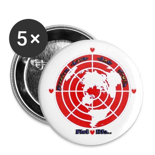 Flatlife flat earth logo badge - Buttons medium 1.26/32 mm (5-pack)