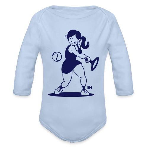 Tennis meisje slaat een backhand Baby body - Organic Longsleeve Baby Bodysuit