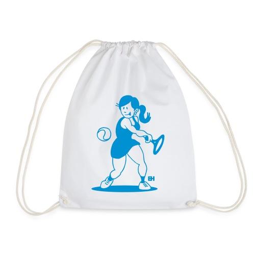 Tennis meisje slaat een backhand Tassen & rugzakken - Drawstring Bag