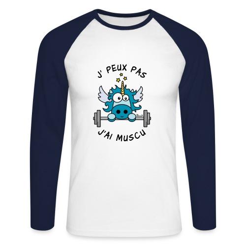 T-shirt ml Homme Licorne, Je peux pas, J'ai Muscu - T-shirt baseball manches longues Homme