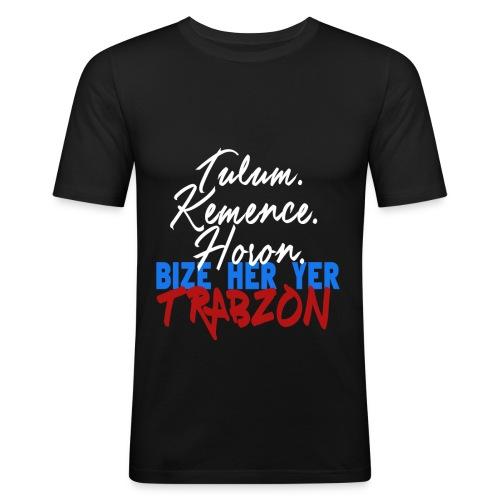 BIZE HER YER TRABZON - Herren T-Shirt - Slim Fit - Schwarz - Männer Slim Fit T-Shirt