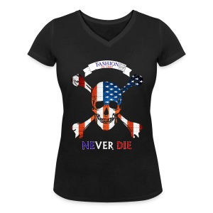 T-shirt Girl Fashion Victime.. - T-shirt col V Femme