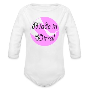 Made in Wirral Pink Babygrow - Organic Longsleeve Baby Bodysuit