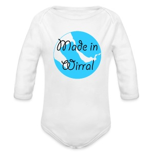Made in Wirral Blue Babygrow - Organic Longsleeve Baby Bodysuit
