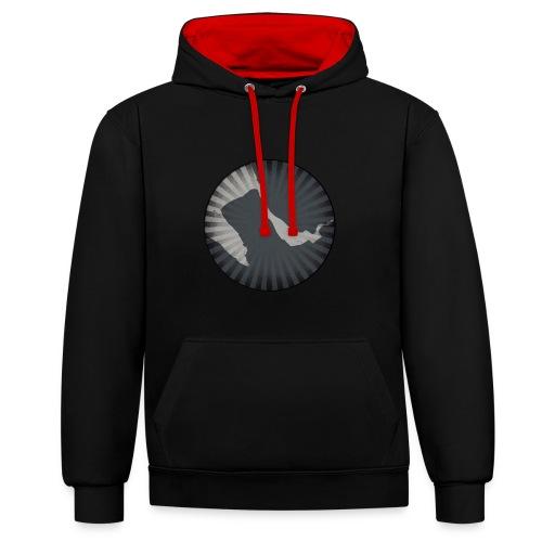 Wirral Retro Men's Hoodie (Black) - Contrast Colour Hoodie