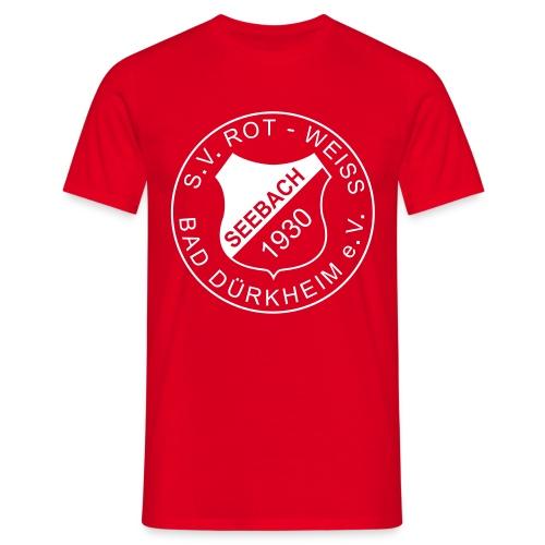 Männer T-Shirt rot Logo weiß - Männer T-Shirt