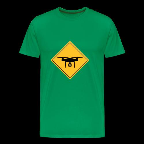 Warnschild mit Drohne -T-Shirt für Copterpiloten - Männer Premium T-Shirt