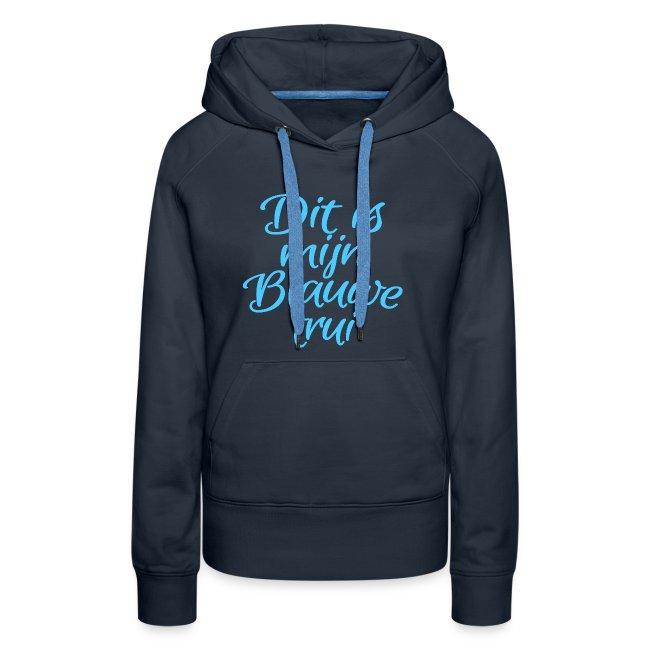 Blauwe trui vrouwen premium hoodie