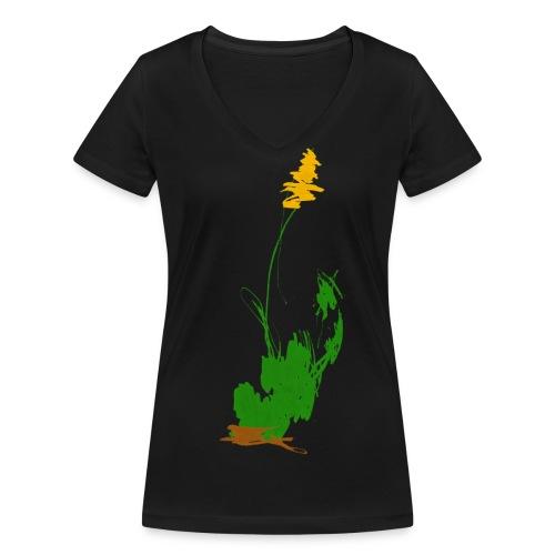 was pflanzliches auf schwarzem Frauenshirt - Frauen Bio-T-Shirt mit V-Ausschnitt von Stanley & Stella