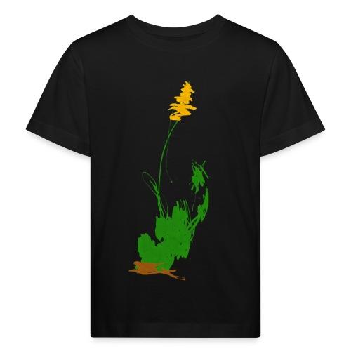was pflanzliches auf schwarzem Kindershirt - Kinder Bio-T-Shirt