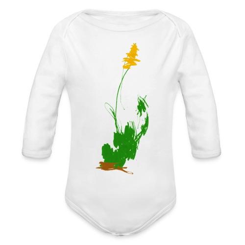 was pflanzliches auf weißem Body - Baby Bio-Langarm-Body