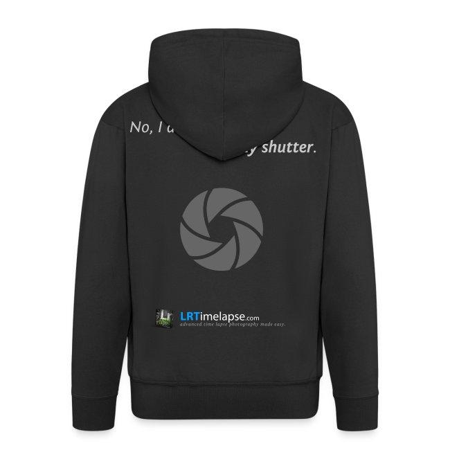 """Hoodie """"Don't Care about my Shutter"""" - Schwarz - mit Reißverschluss"""
