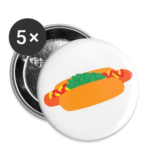 Korv med bröd - knapp (stor) - Stora knappar 56 mm (5-pack)