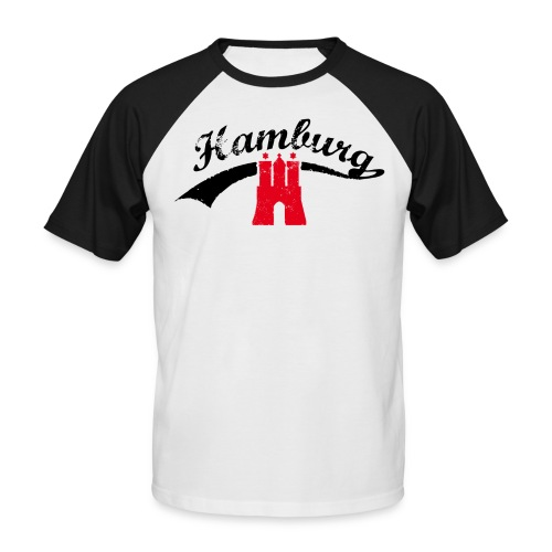 Weiß/schwarz Hamburg Retro T-Shirts - Männer Baseball-T-Shirt