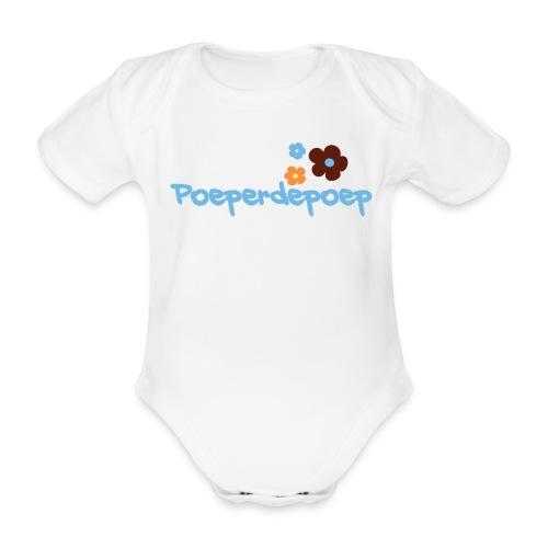 Poeperdepoep met bloemetjes - Baby bio-rompertje met korte mouwen