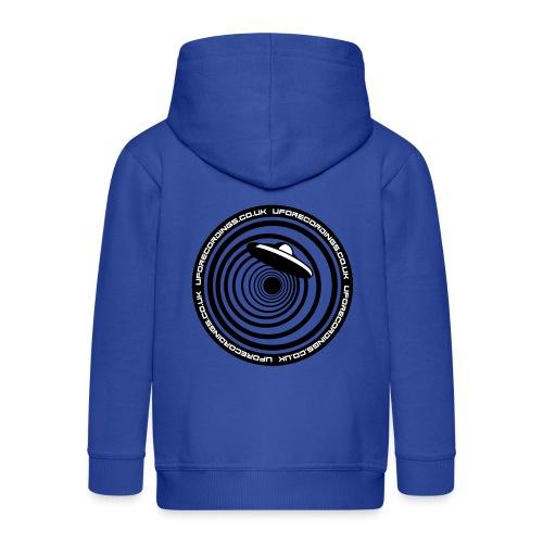 KIds Hoodie Blue and White UFO Recordings Logo - Kids' Premium Zip Hoodie