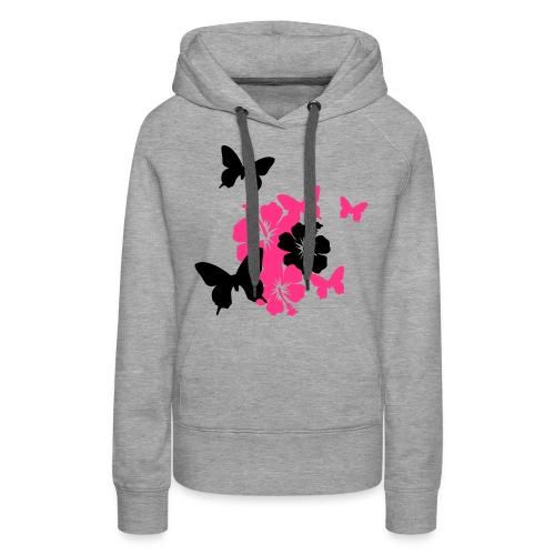 Girly Pullover mit Schmetterlingen und Blume - Frauen Premium Hoodie