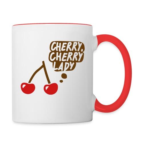 »Cherry, cherry lady« Tasse – Bunt auf Weiß - Tasse zweifarbig