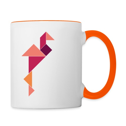 »Tangram-Flamingo« Tasse – Bunt auf Weiß/Orange - Tasse zweifarbig