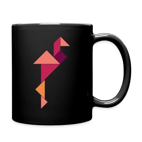 »Tangram-Flamingo« Tasse – Bunt auf Schwarz - Tasse einfarbig