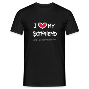 Nero i love my boylfriend, and his boyfriend too (a mano) T-shirt - Maglietta da uomo