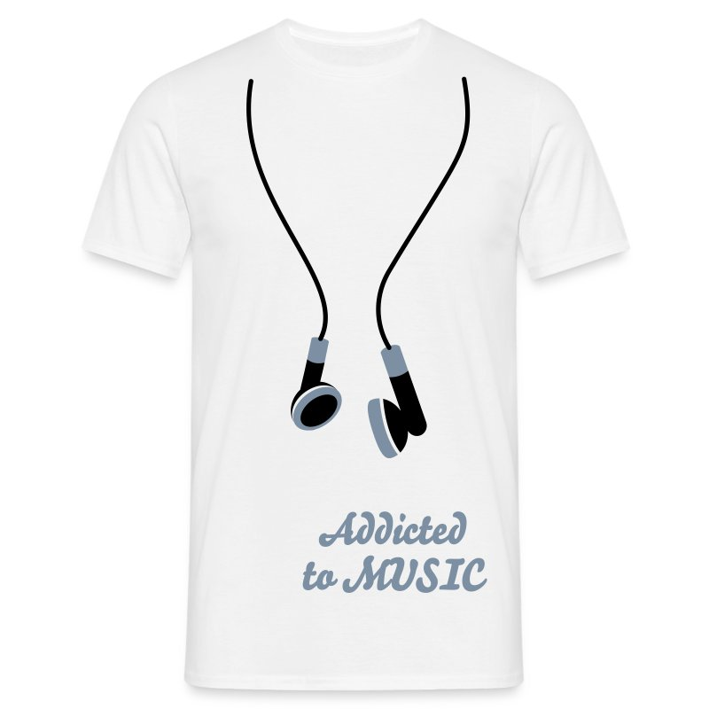 Addicted to music blanco y negro - Camiseta hombre