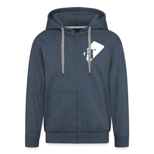 Men's Zip Up Hoodie - White Renoise Tag - Men's Premium Hooded Jacket