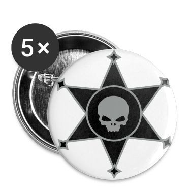White Sheriff's star with Skull icon Buttons