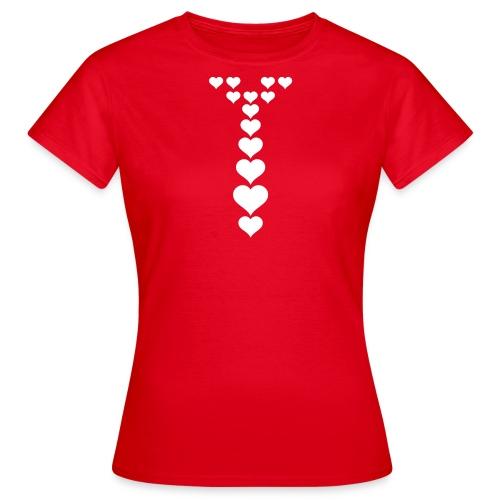 Stropdas hartjes wit - Vrouwen T-shirt