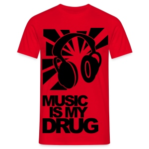 Black + Red 'Music is my drug' - Men's T-Shirt