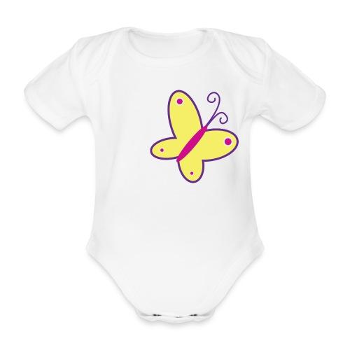 Vrolijke vlinder - rompertje - Baby bio-rompertje met korte mouwen