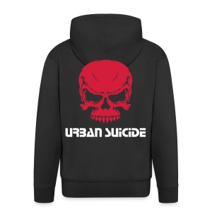 red jumper with skull design and logo - Men's Premium Hooded Jacket
