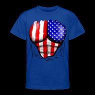 Shirts ~ Teenage T-shirt ~ USA Flag Ripped Muscles, six pack, chest t-shirt
